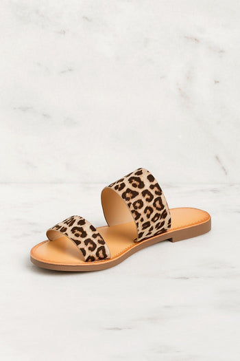 Nadia Leopard Slide On Sandals | Fortune Dynamic