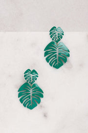 Teal Monstera Leaf Earrings