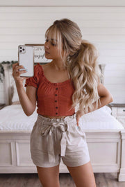 Carefree Rust Crop Top