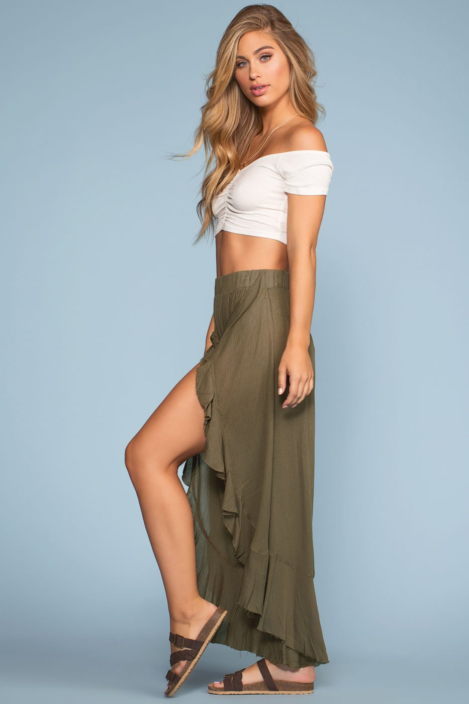 Olive Tie-Front Pants with Elastic Waist