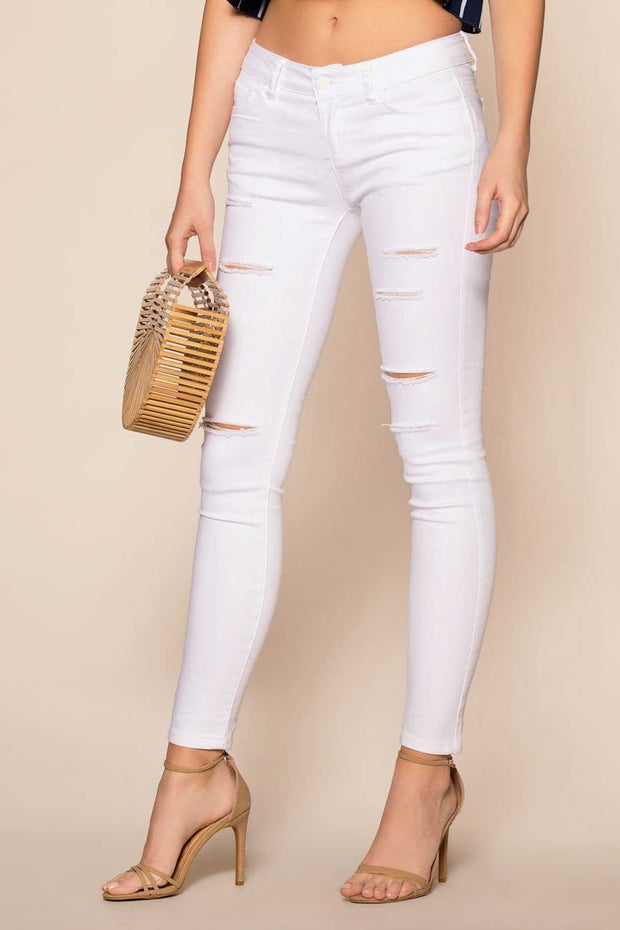 White Mid-Rise Distressed Jeans