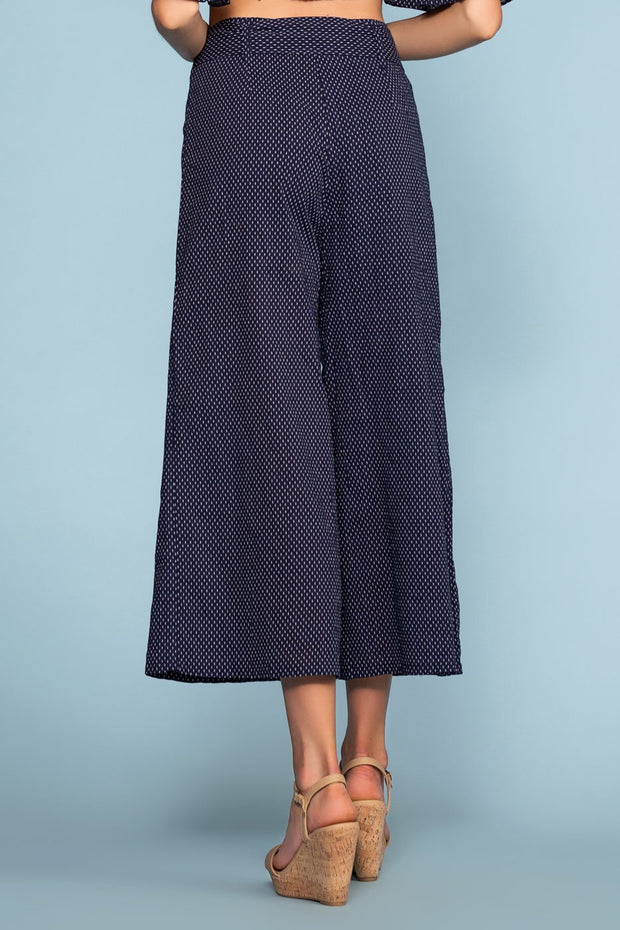 Dotted Navy High Waist Pants