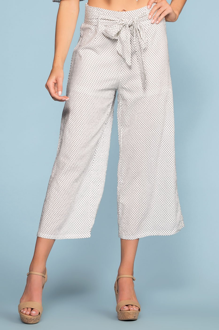 Dotted White High Waist Pants