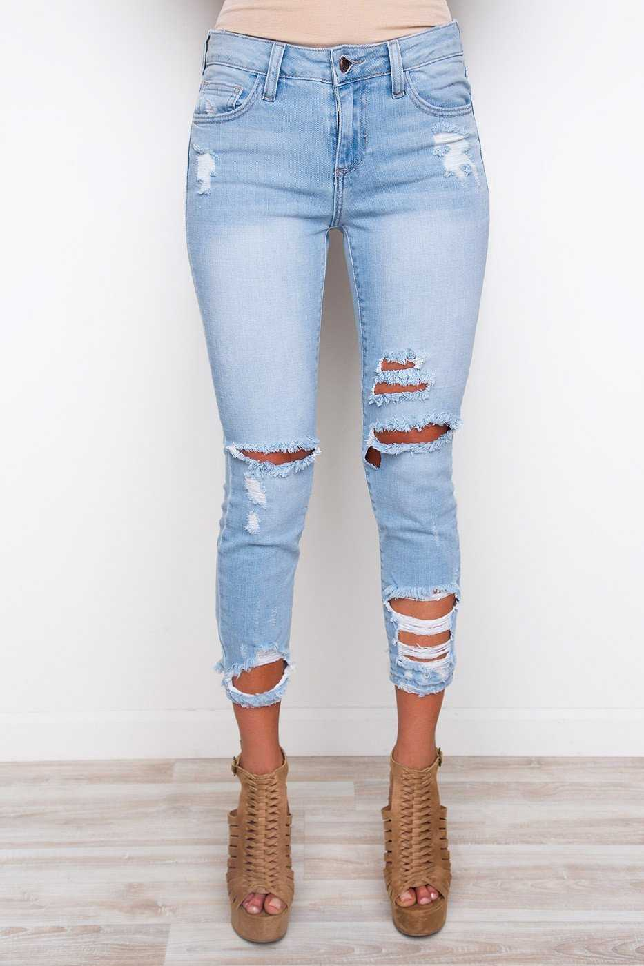 Pants - Can't Help It Distressed Jeans - Light