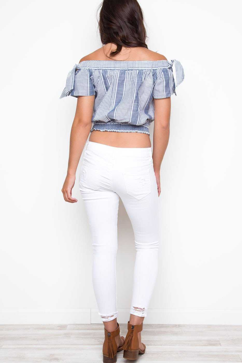 Pants - Can't Help It Distressed Jeans - White