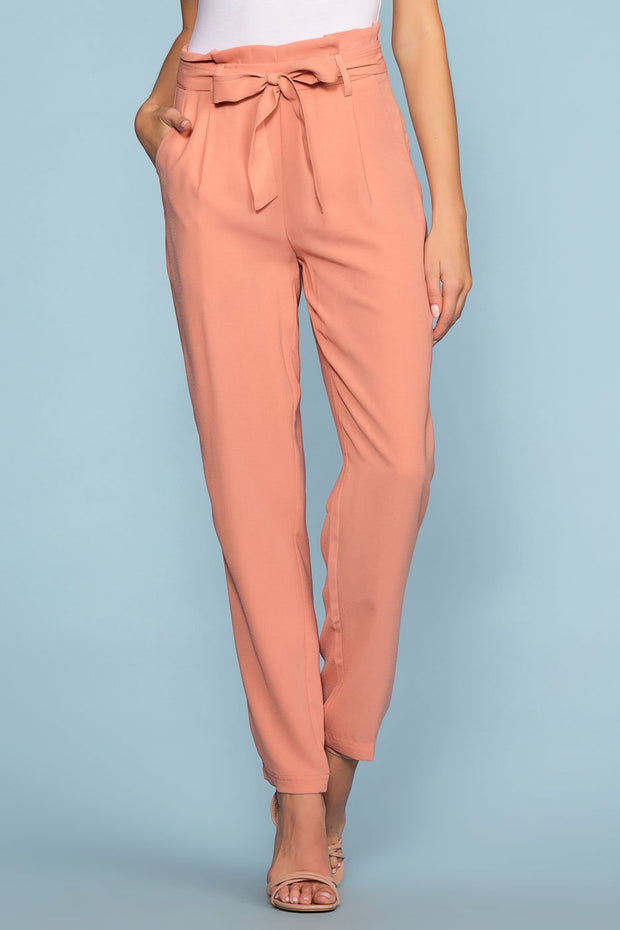Blush High Waisted Tie Front Pants