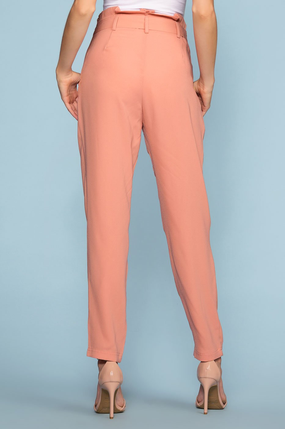 Pants - Christine High Waisted Tie Front Pants - Blush