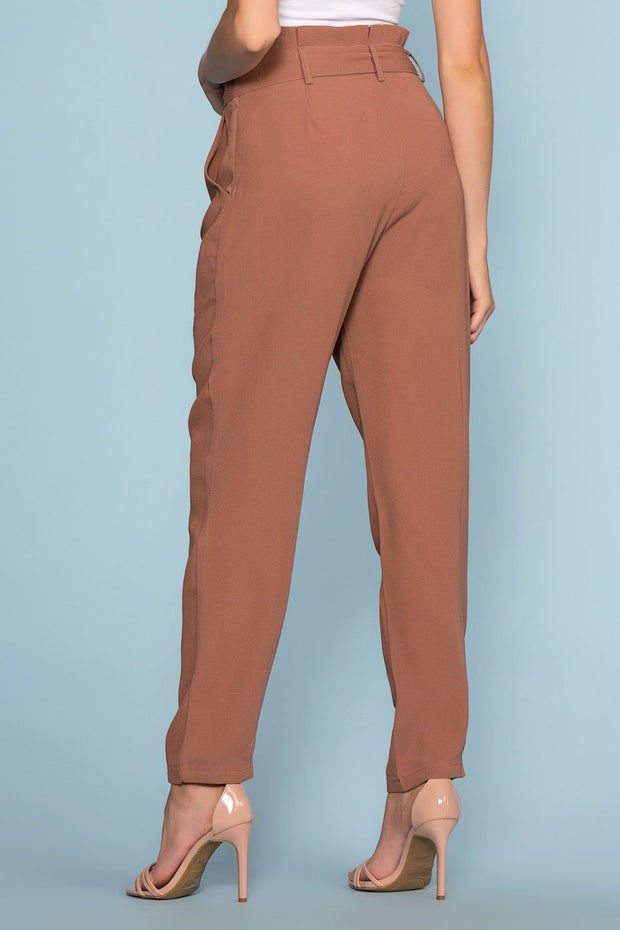 Marsala High Waisted Tie Front Pants