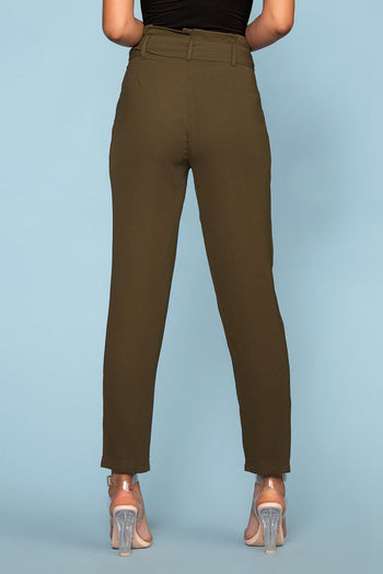 Pants - Christine High Waisted Tie Front Pants - Olive
