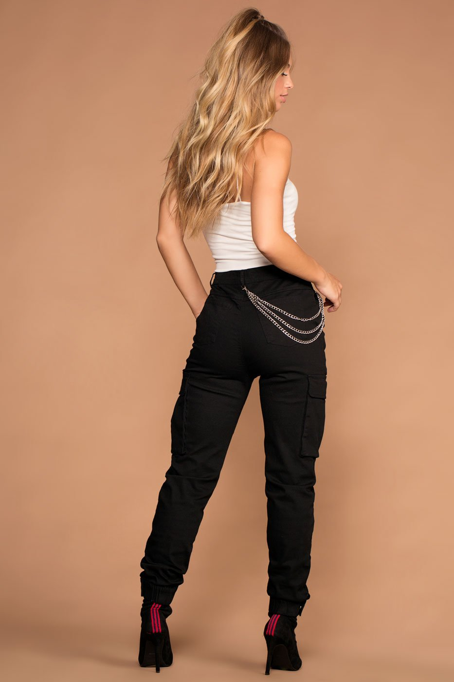 Pants - Clyde Highwaisted Black Cargo Pants