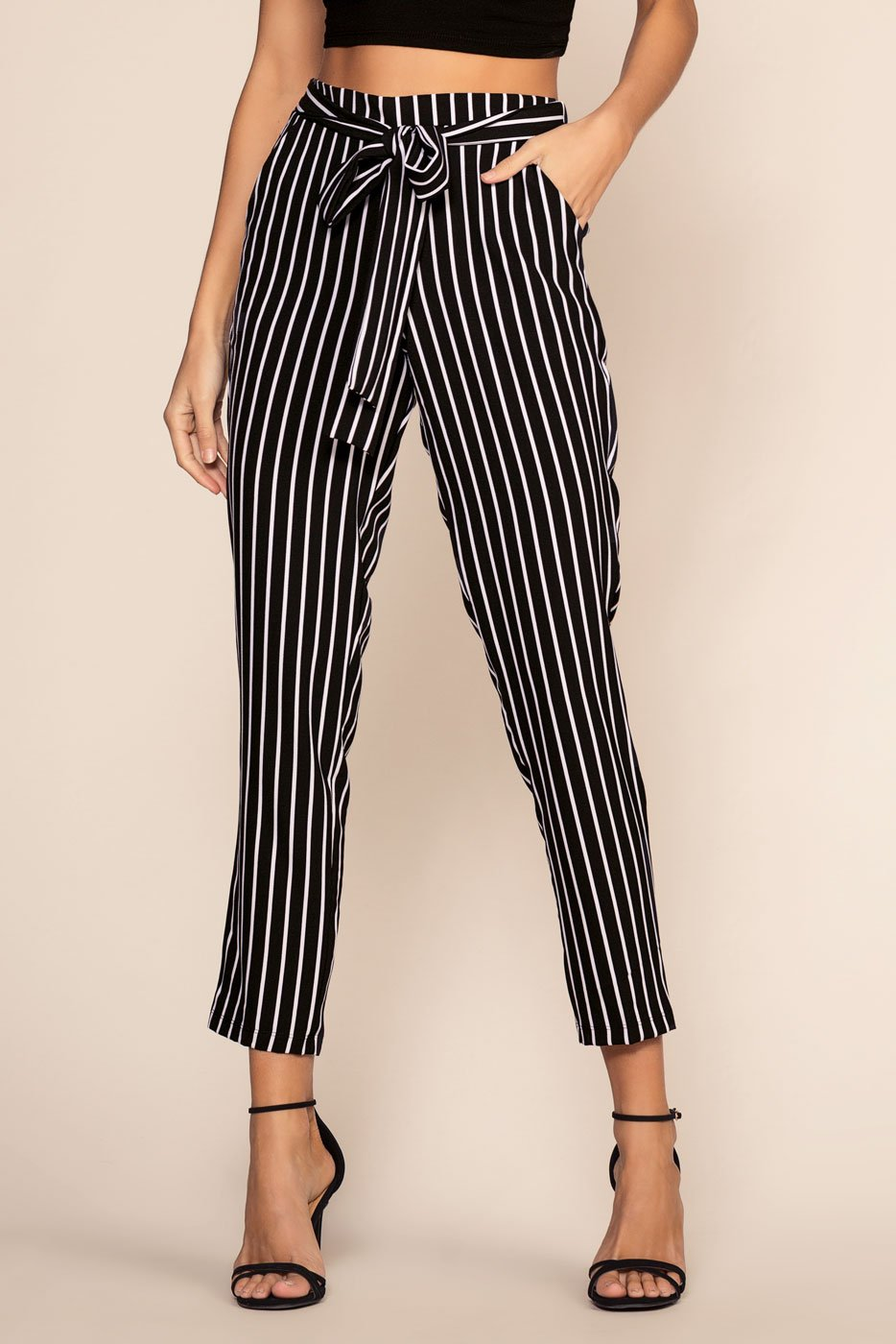 Pants - Elsbeth Stripe Highwaist Crop Pants - Black