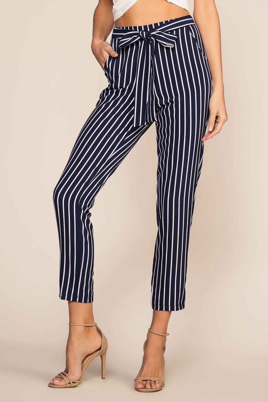Navy Stripe Highwaist Crop pants