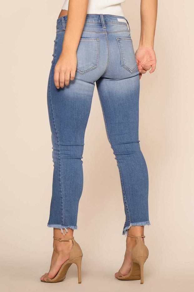Medium Wash Frayed Jeans