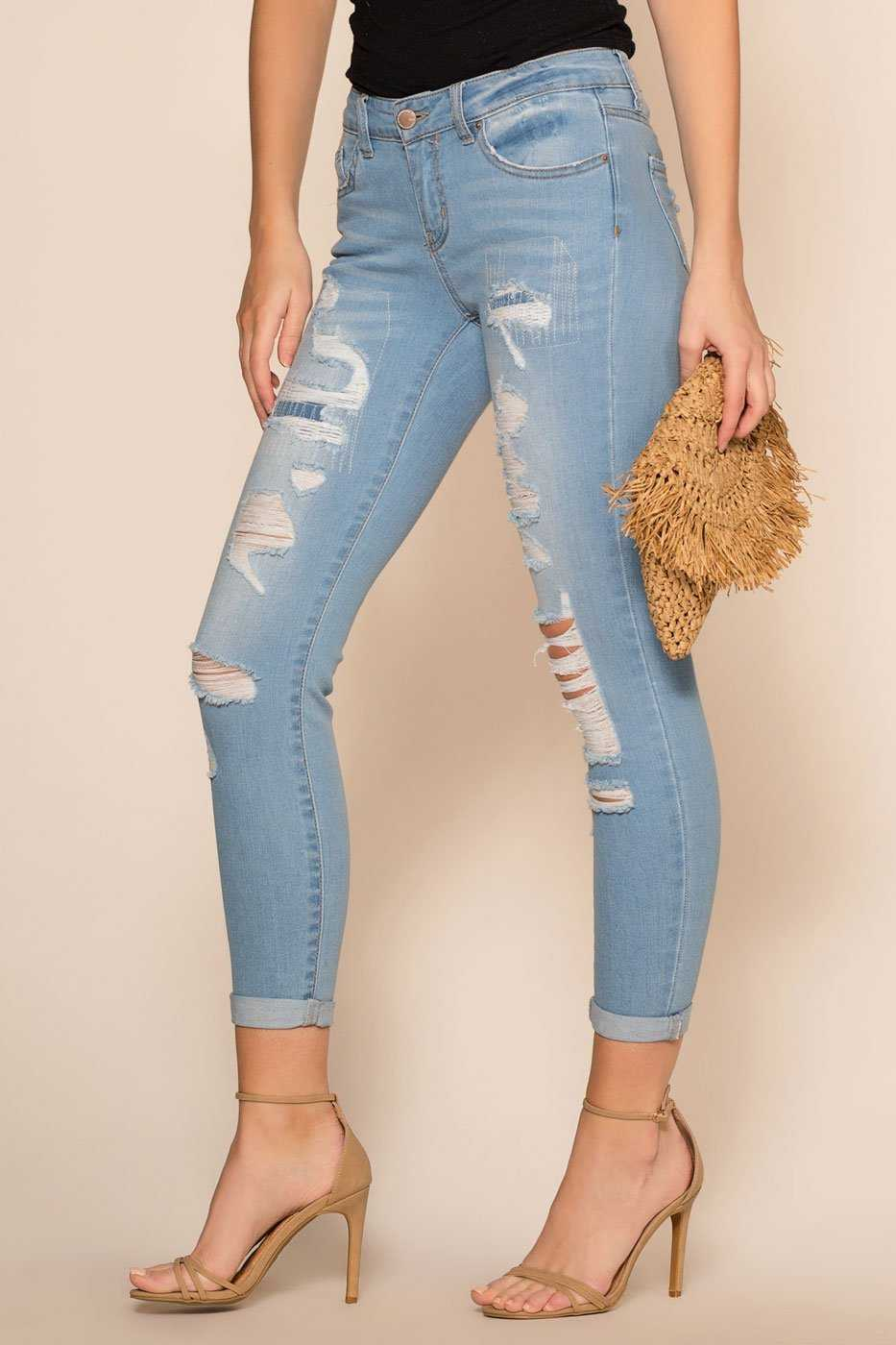 Light Was Distressed Cuffed Jeans
