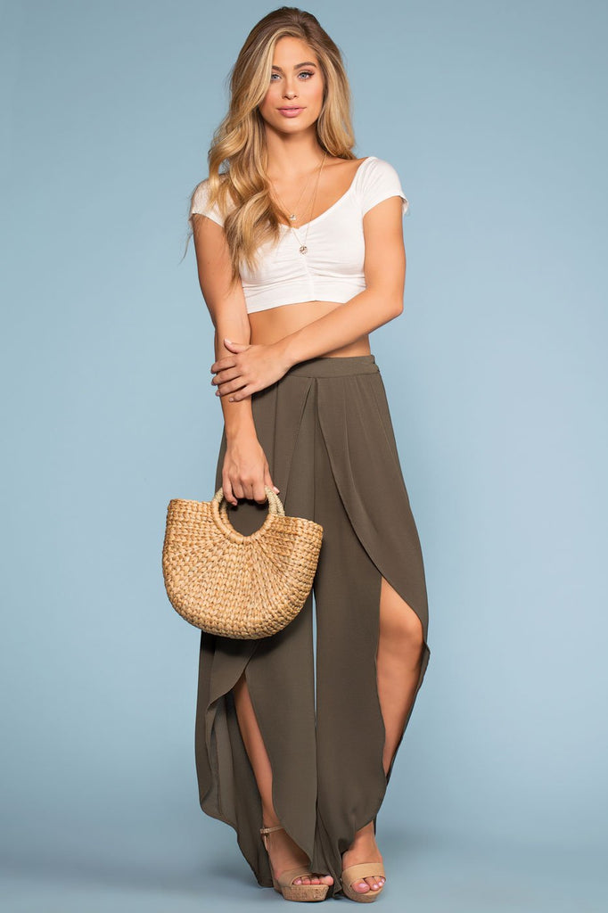 Pants - Find Me Seaside Culotte Pants - Olive