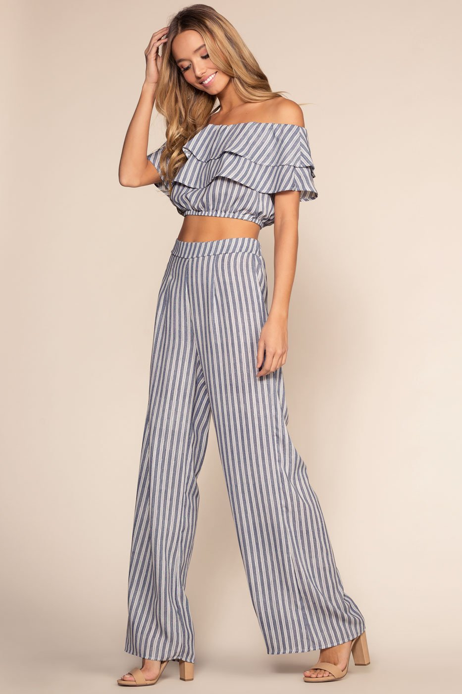Pants - Free Love Striped High Waisted Pants