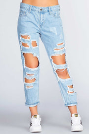 Pants - Gwen Distressed Boyfriend Jeans - Light