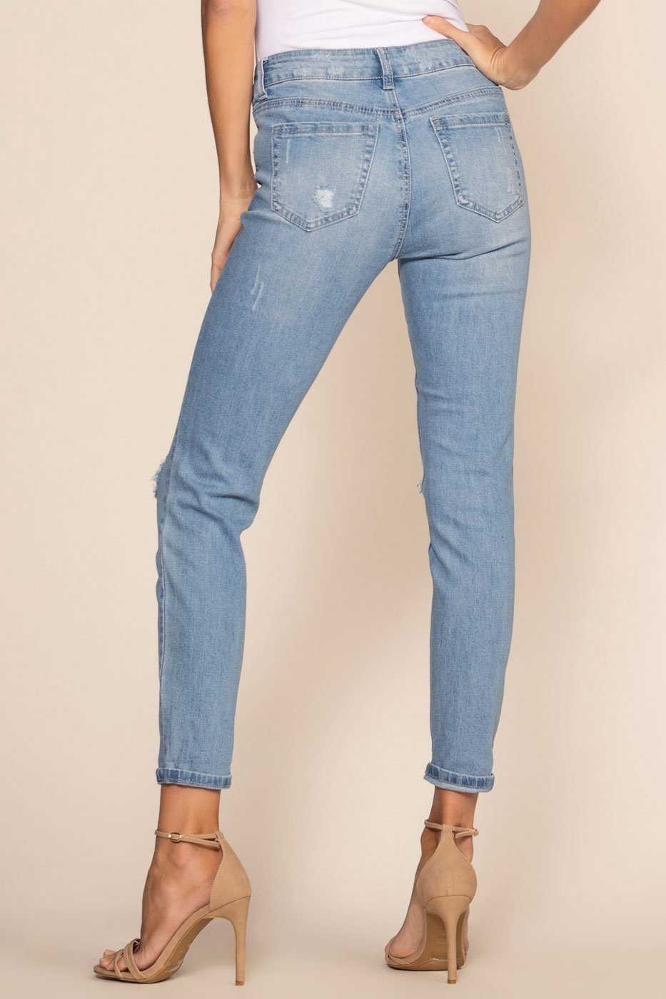 Mid-Rise Light Wash Distressed Jeans