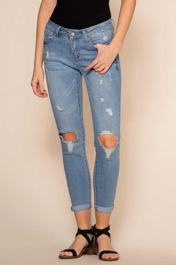 Mid-Rise Medium Wash Distressed Jeans