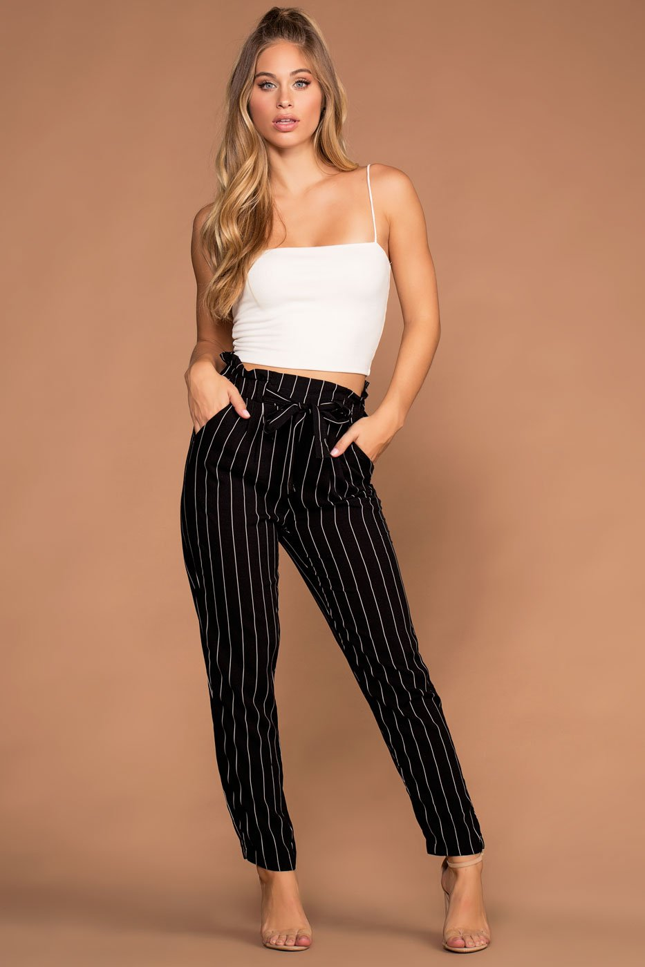 d7560ba2c00 Hyde Black And White Stripe Paperbag Pants
