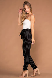 Black And White Stripe Paperbag Pants