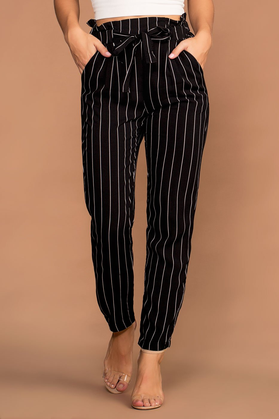 Priceless | Black and White | Stripe Pants | Paperbag Pants | Womens