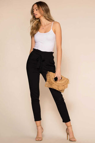 On The Line Paperbag Skirt - Black