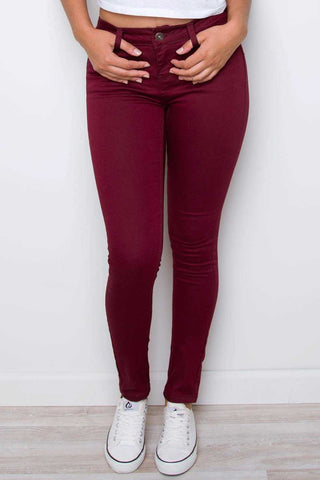 Jaxon Moto Jeggings - Burgundy