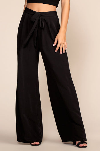 Pants - Justine Wide Leg Pants - Black