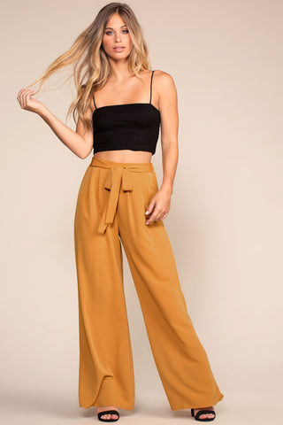 Christine High Waisted Tie Front Pants - Black
