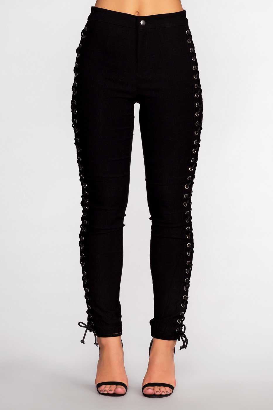 Pants - Lace Do It Right Pants - Black