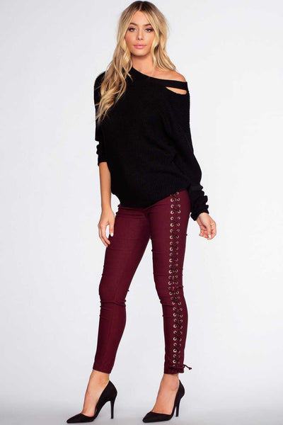 Pants - Lace Do It Right Pants - Burgundy