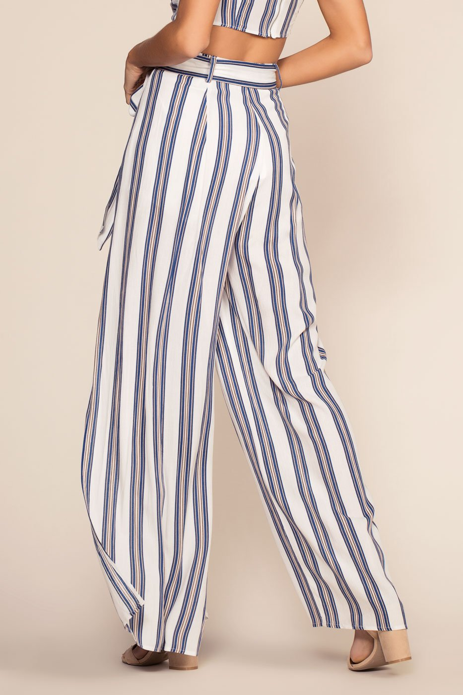 Pants - Landings Stripe High Waisted Culotte Pants