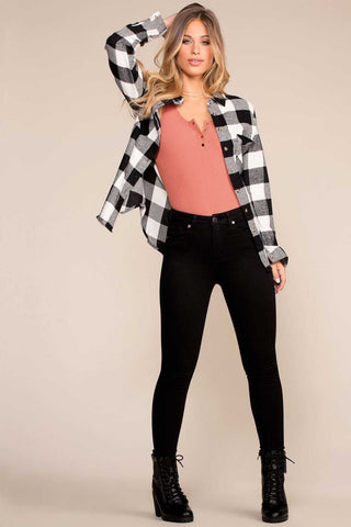 Stuck On You Distressed Jeans - Black