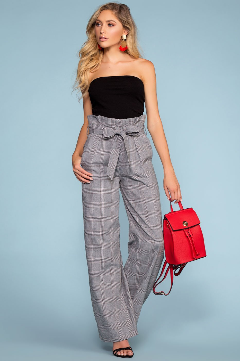 Pants - Manhattan High Waisted Plaid Paperbag Pants