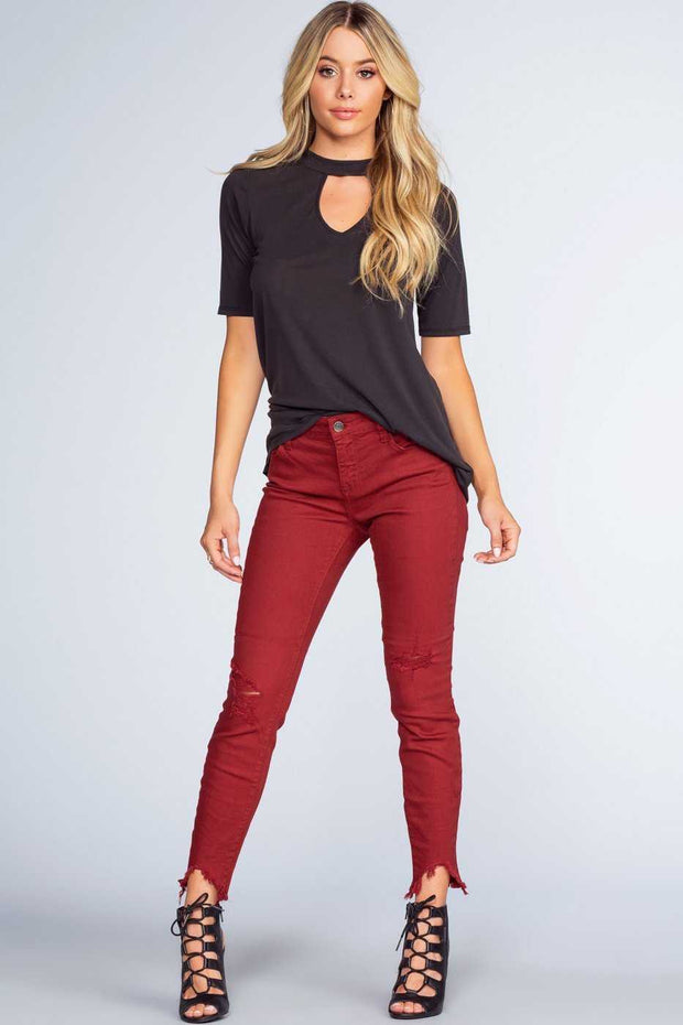 Pants - Melina Distressed Jeans - Burgundy