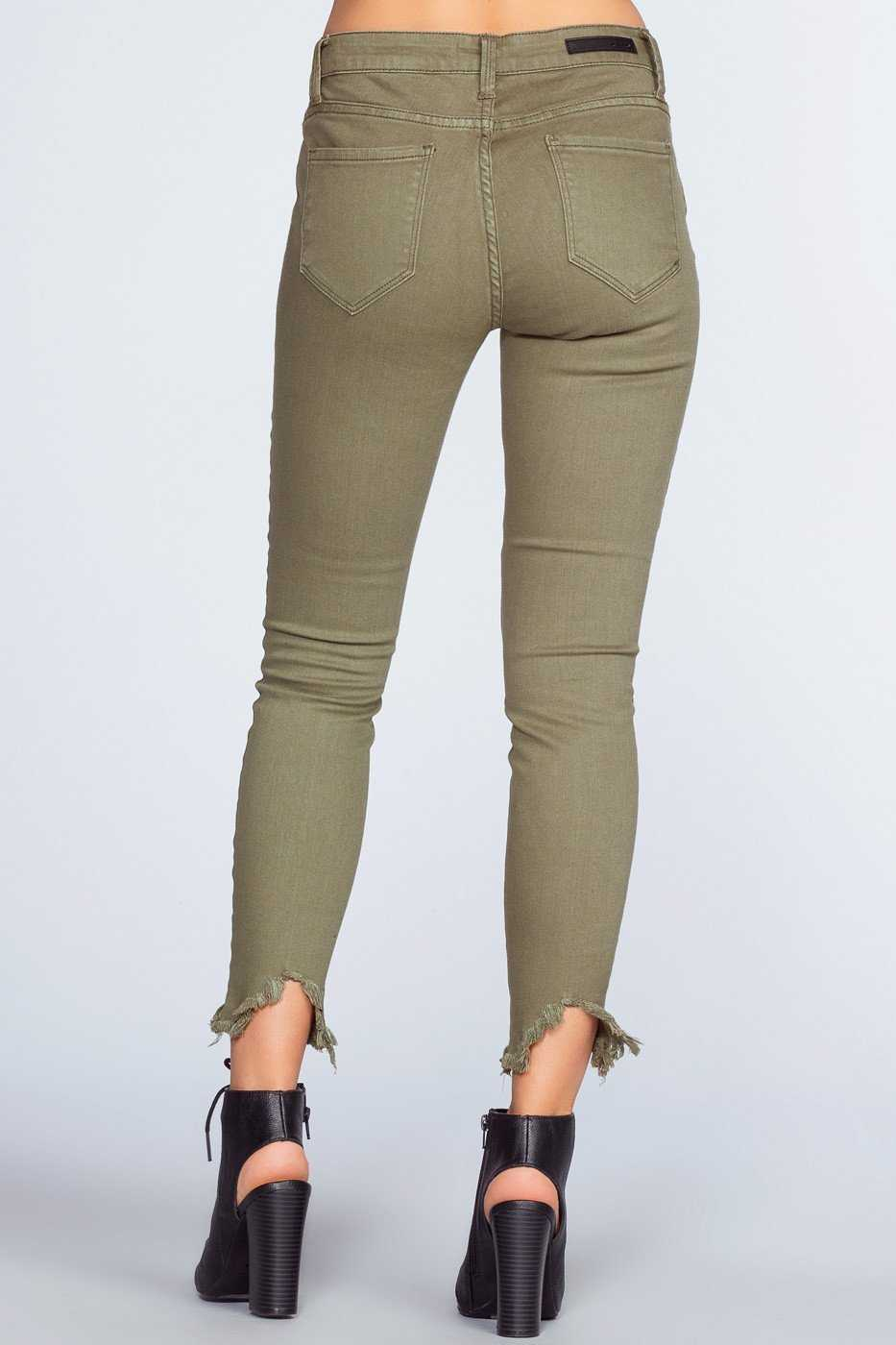 Pants - Melina Distressed Jeans - Olive