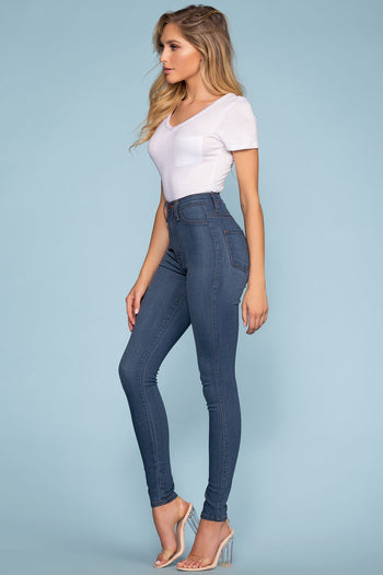 Pants - Mika High Waisted Jeans - Medium Wash