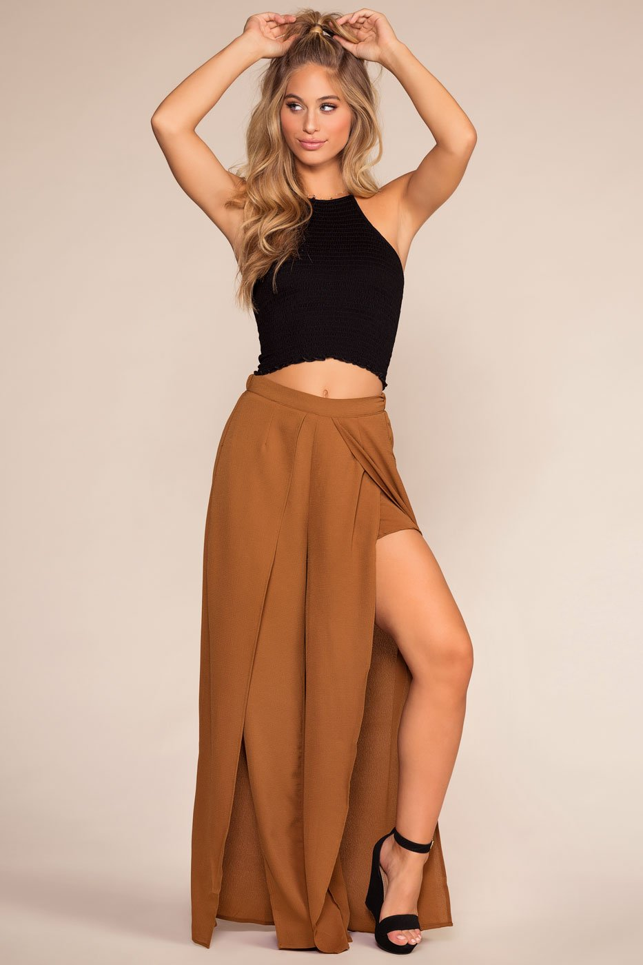 Pants - Mohave High Waisted Front Slit Pants - Bronze
