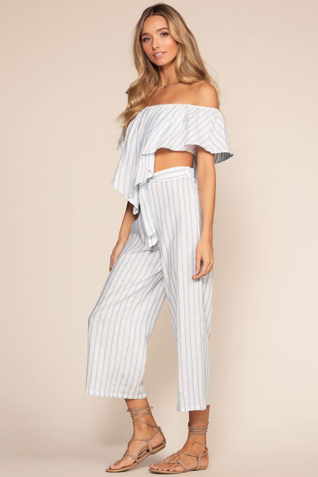 Pants - On My Way To Rio Striped High Waist Culottes - Blue