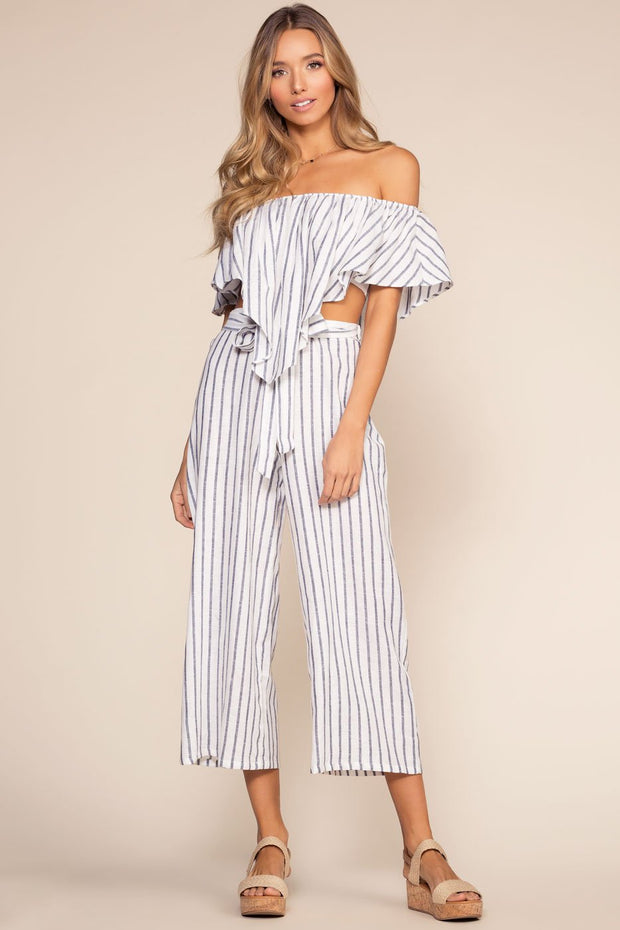 Pants - On My Way To Rio Striped High Waist Culottes - Navy