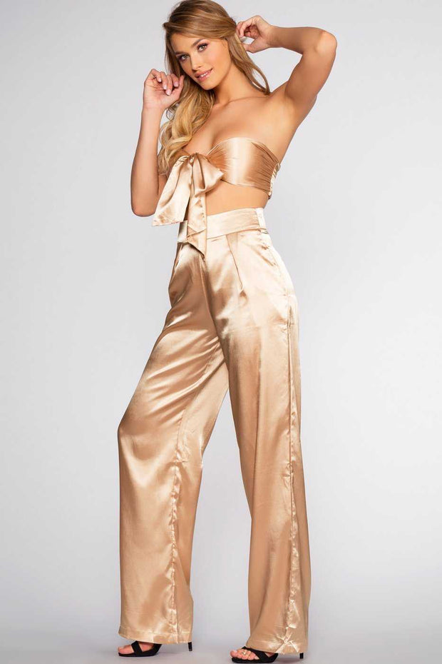 Pants - Pop The Bubbly Satin Pants - Champagne