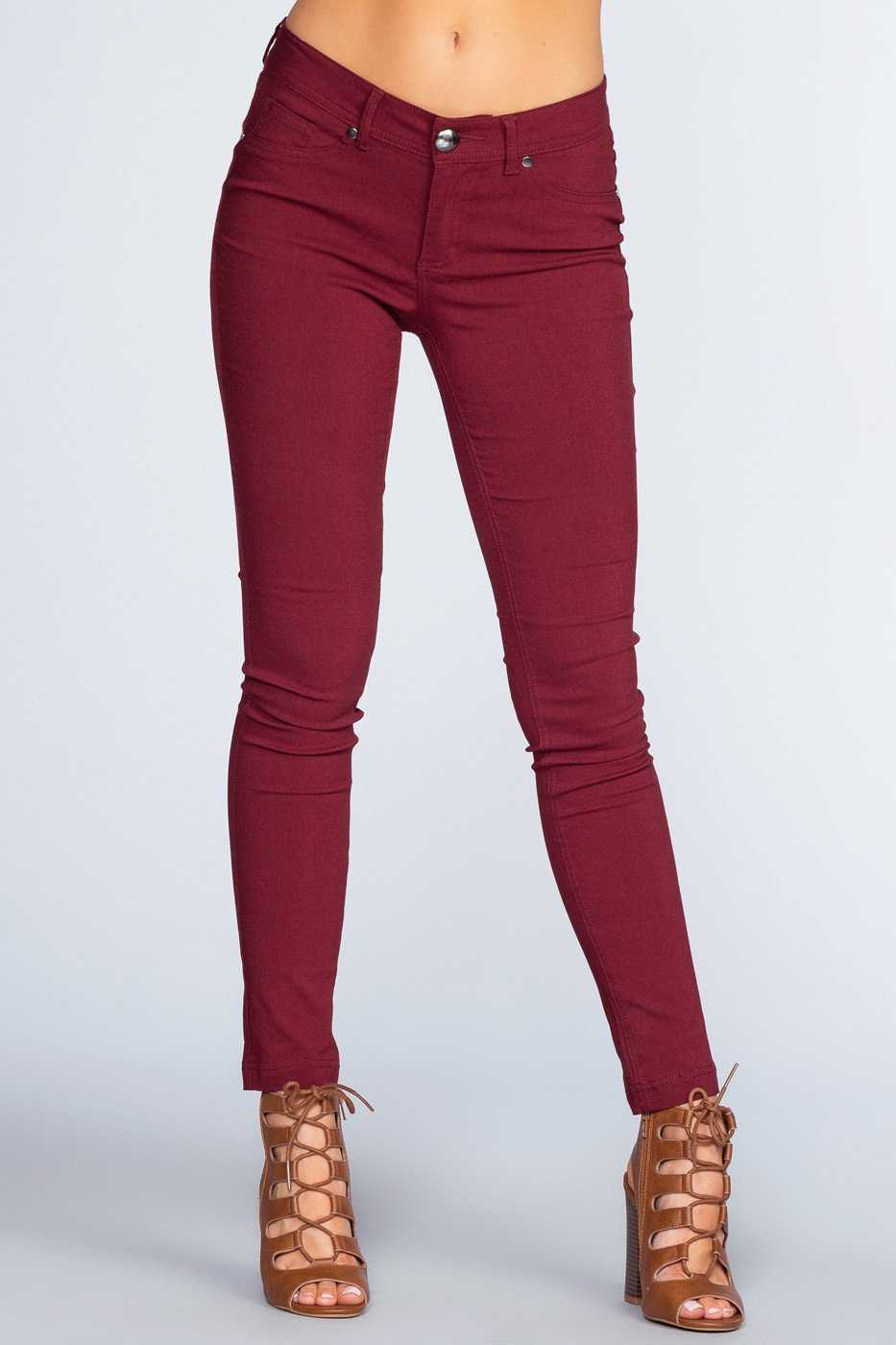 Pants - Power Trip Skinnies - Burgundy