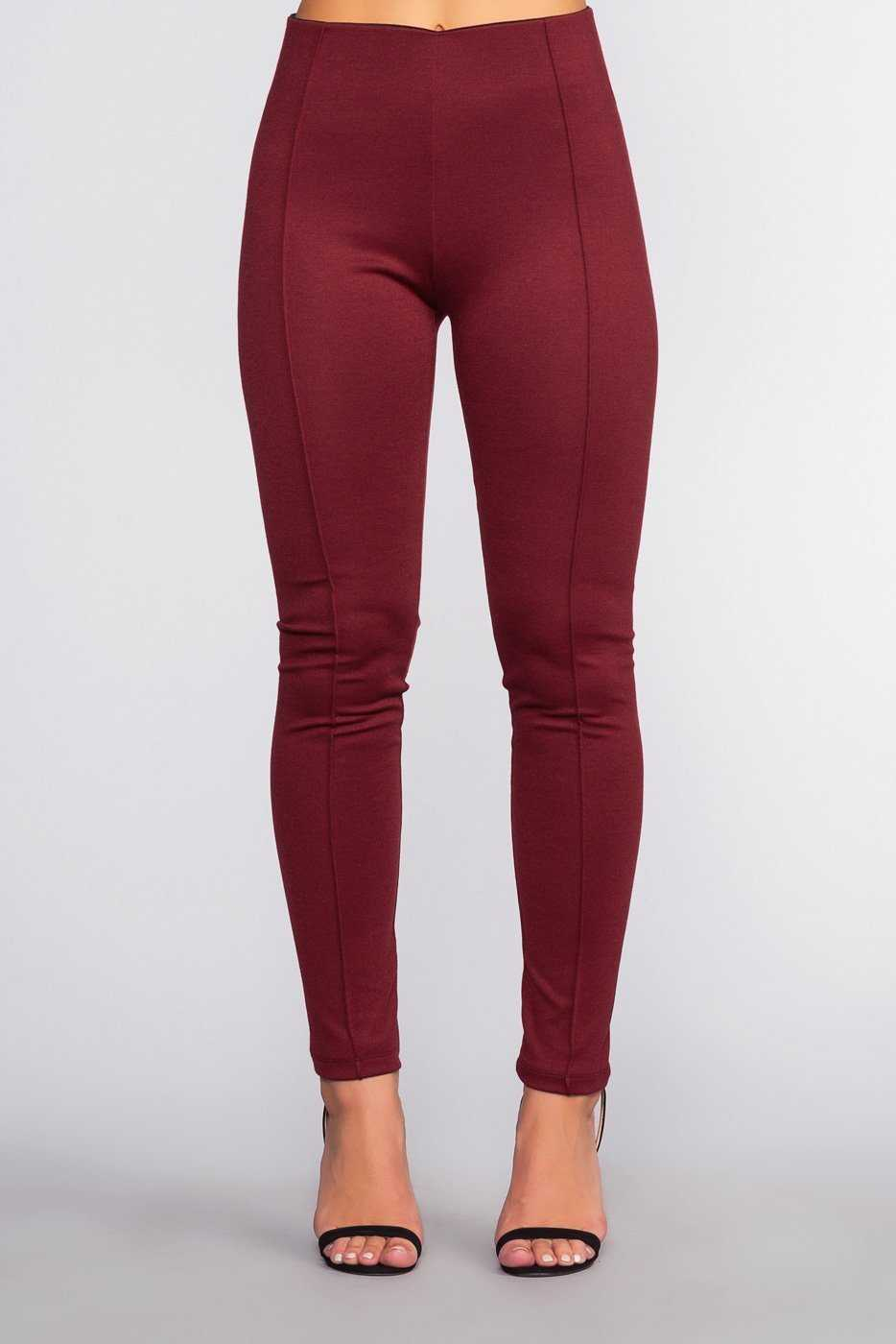 Pants - Sadie Ponte Pants - Burgundy