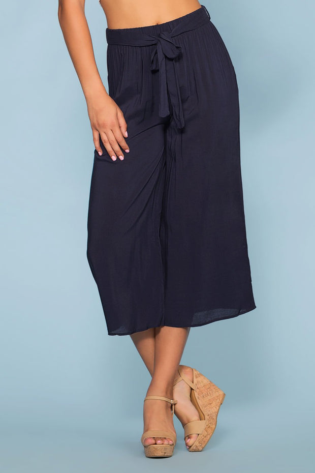 Pants - Sandy Wide Leg High Waist Culotte Pants - Navy