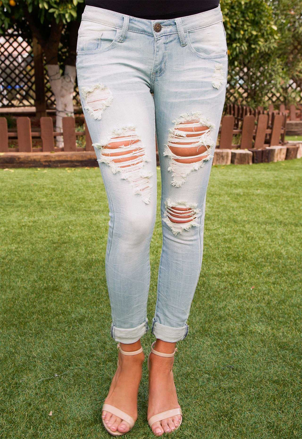 Pants - Strike Out Distressed Jeans