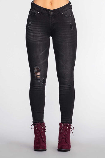 Pants - Stuck On You Distressed Jeans - Black