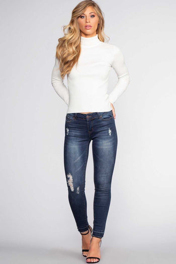 Pants - Stuck On You Distressed Jeans - Indigo