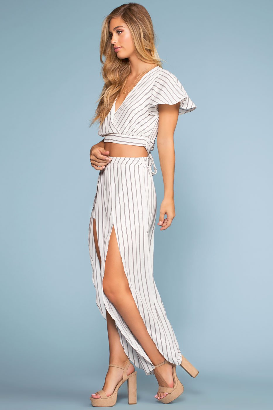 Pants - Take It Breezy Highwaist Striped Culottes