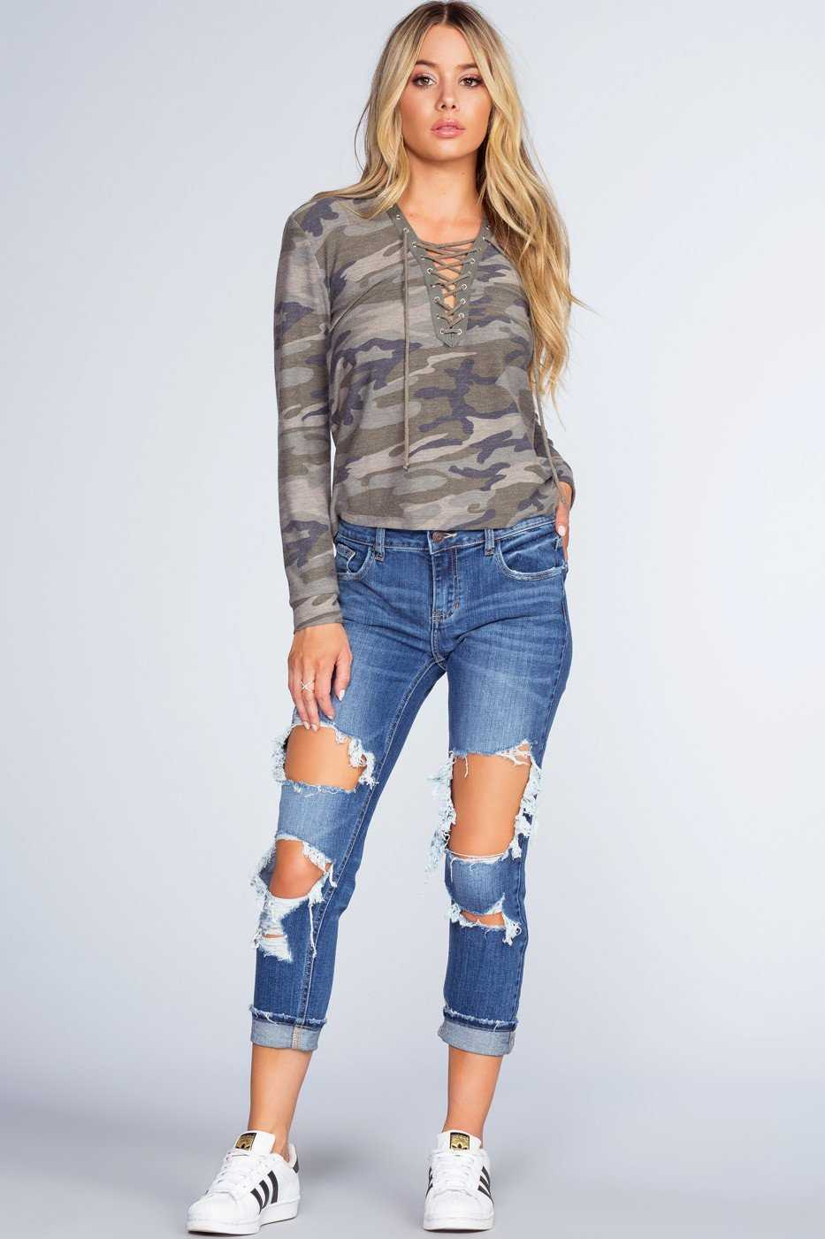Pants - Tisdale Distressed Boyfriend Jeans - Indigo